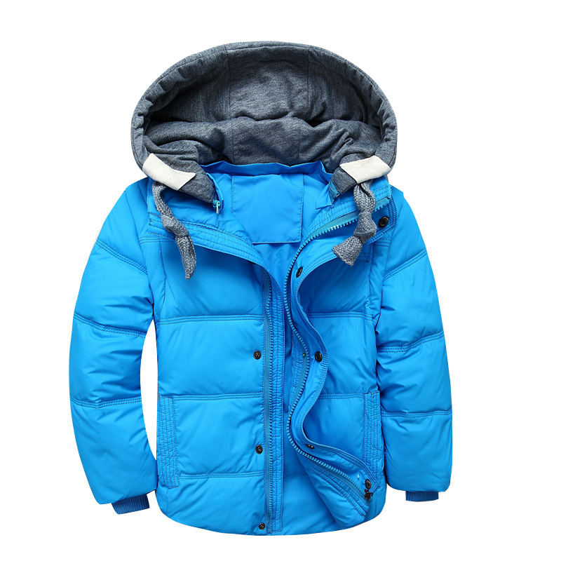 Casual Short Zipper Down Jacket For Girls Solid Color Detachable Cap Boys Parkas Removable Long Sleeve Children Winter Coats cap sleeve solid tee