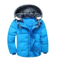 Casual Short Zipper Down Jacket For Girls Solid Color Detachable Cap Boys Parkas Removable Long Sleeve Children Winter Coats