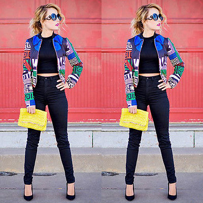 2017 New Womens floral printing Patchwork Classic Padded Bomber Jacket Vintage Slim Zip Up Biker Coat Jackets Fall Autumn