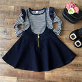 High Quality 2-8Y Spring Autumn Girls Clothing set Top Cotton T shirt + Jean Overalls Dress 2pcs Baby Kids Clothes 2015 new