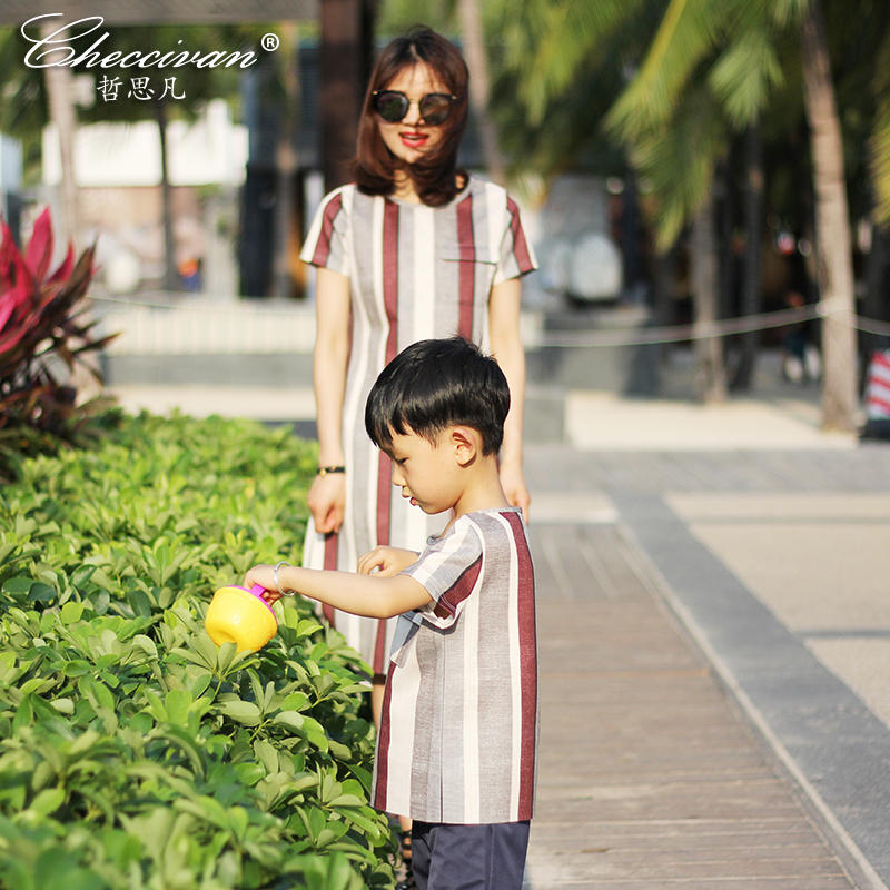 Checcivan Family Summer T-shirts Mother &Child Clothes Girls Bars Knitted T-shirt Boys Striped Tops Mother's One-piece Dress family fashion summer tops 2015 clothers short sleeve t shirt stripe navy style shirt clothes for mother dad and children