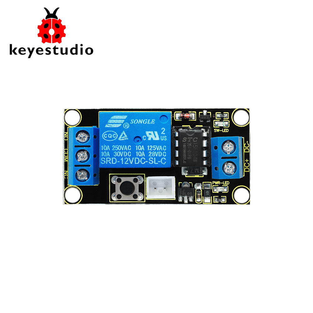 US $6 0 |Keyestudio Button Controlled One Channel 12V Relay Module For  Arduino (Black and Environmental friendly)-in Integrated Circuits from