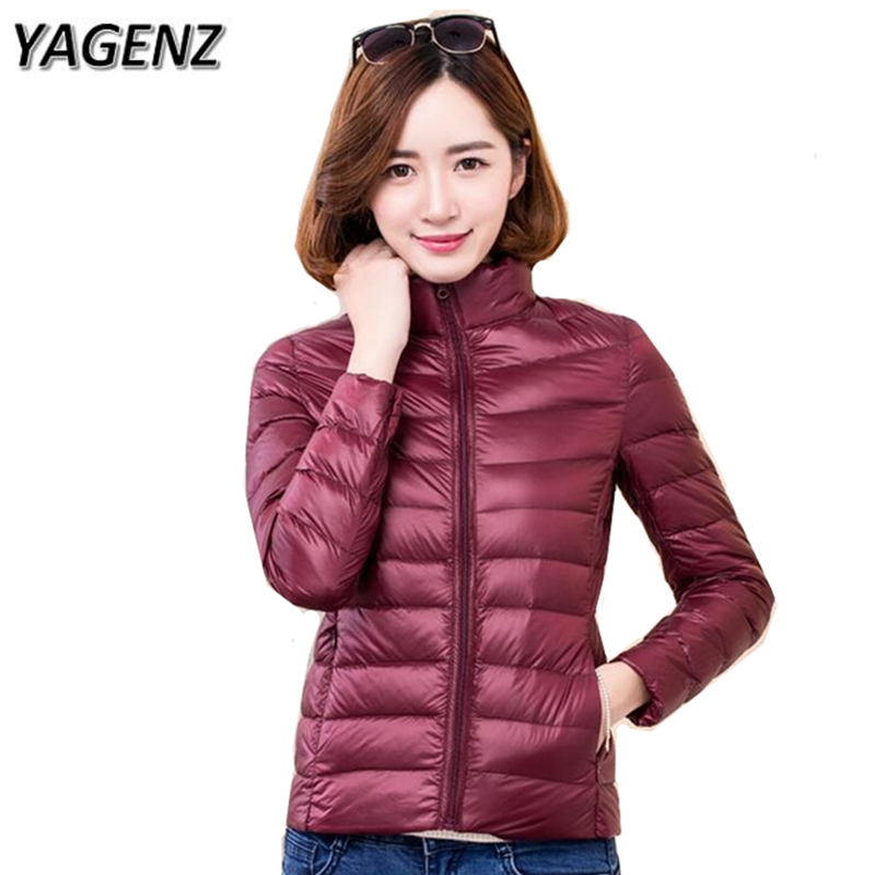 YAGENZ 2017 New Winter Women Short Jacket Fashion Slim Ultra Light Down Lady Outwear Plus size S-4XL Casual Solid Female Jacket bck new junior s size xl solid light pink seamed sheer button down shirt $29