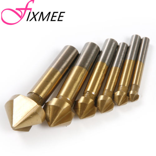 6pcs 3 Flute 90 Degree Hss Chamfer Cutter Chamfering Drilling End Mill Drill Counter Sink Titanium Coated Countersink Drill Bit free shipping new 6pc 3 flutes 90 degree hss chamfer chamfering cutter end mill drill bits milling metal cutting tool set