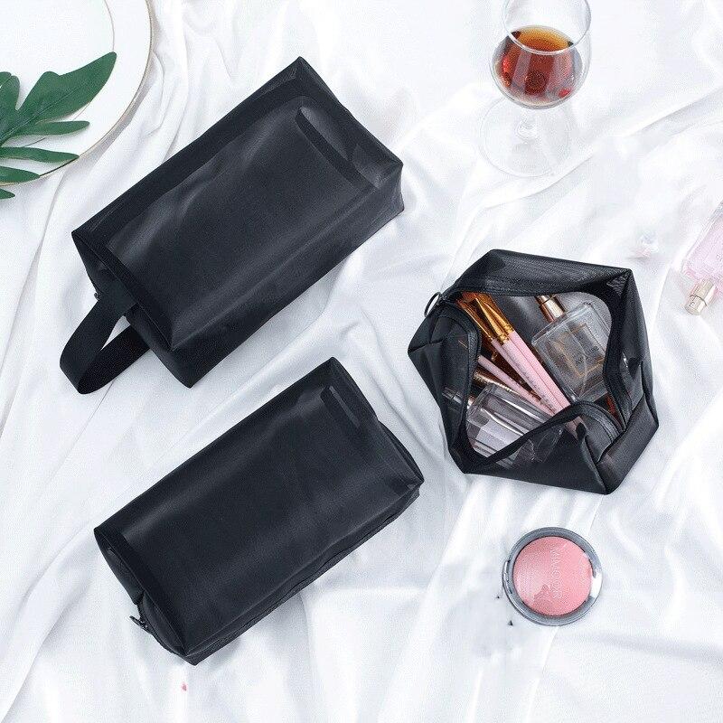 Women Transparent Mesh Cosmetic Bag Travel MakeUp Case Fashion Toiletry Makeup Organizer Bags Case Pouch Beauty Wash Kit Bags