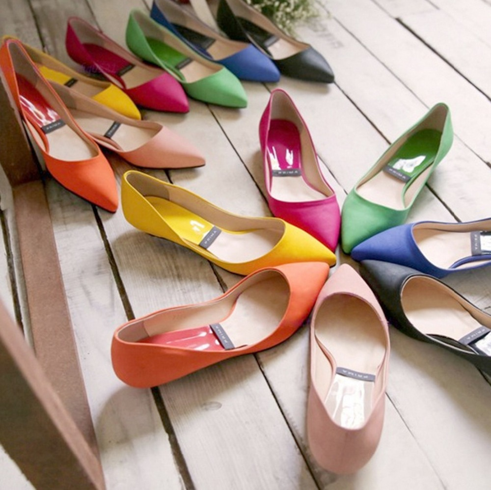 New 2015 Jelly Ballerina Flats women Candy Color Women Shoes Pointed Toe  Navy Red Flats Pink Yellow Green Red Cute Girls Flats-in Women s Flats from  Shoes ... 4d399e4259