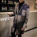 Sobretudos dos homens Xadrez Moda 2016 Nova Engrossar Casaco Longo de Lã homens Plus Size Casual Slim Fit Blusão Jaqueta Casaco de Homem cinza