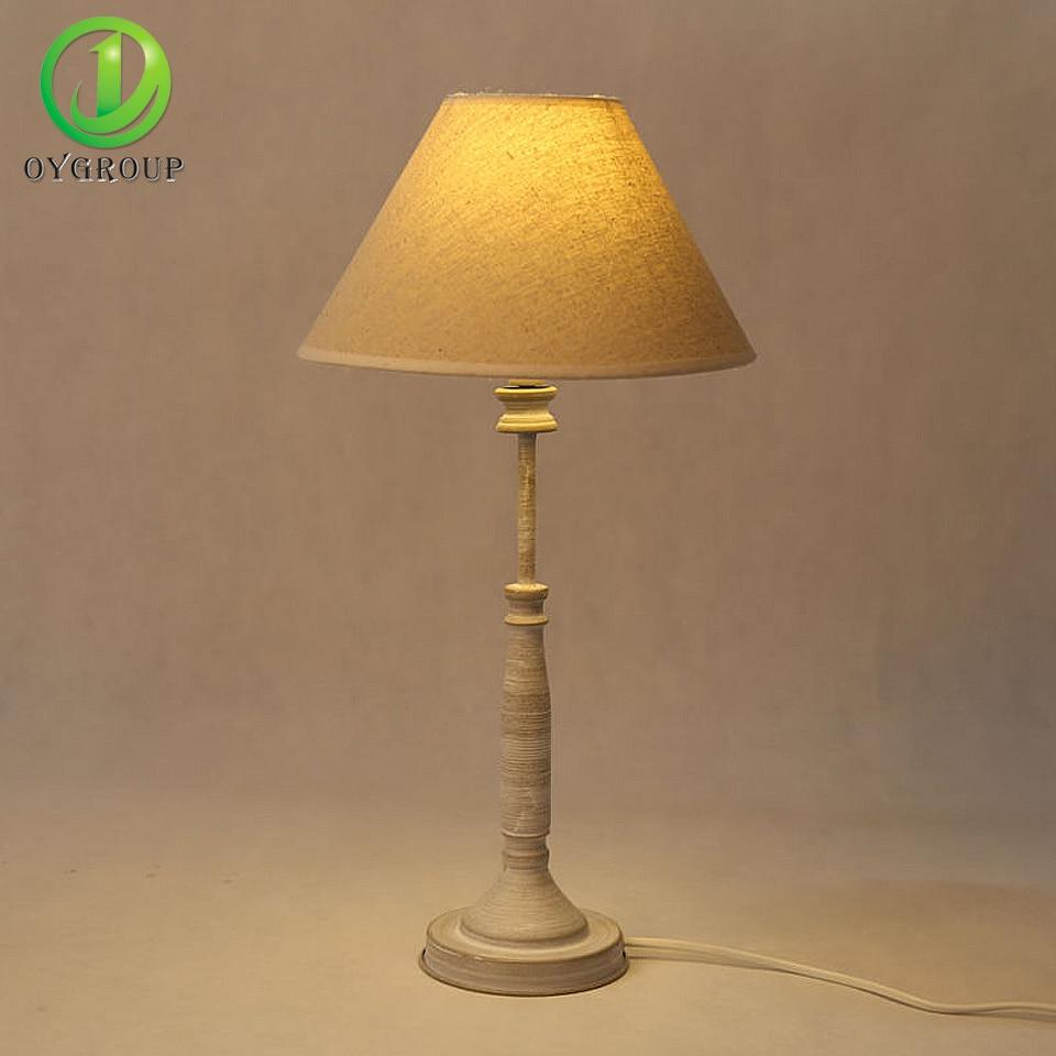 Vintage Led Bulb Holder Table Lamps Iron Base Light Fabric