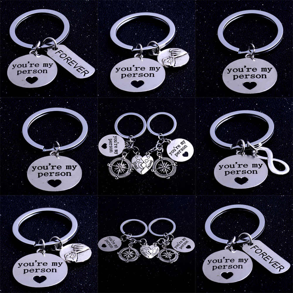 Best Friend Mother Daughter You're My Person Love Heart Key Chain Family Friendship Keyring Keychain Charm Compass Silver Keyfob