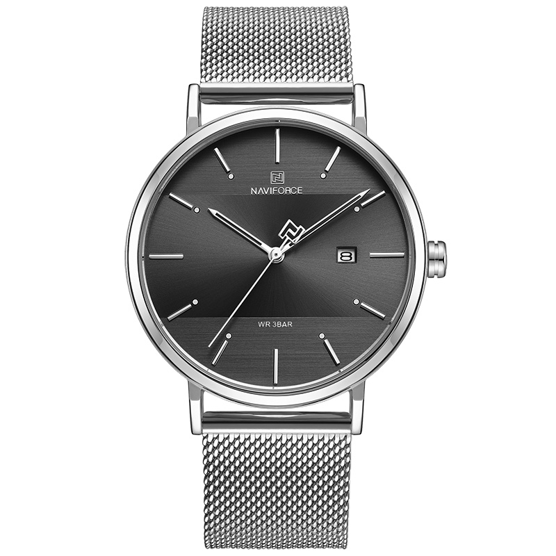 Image 2 - Men Watch Top Brand NAVIFORCE Stainless Steel Mesh Quartz Men's Watches Waterproof Date Business Wristwatch Relogio Masculino-in Quartz Watches from Watches