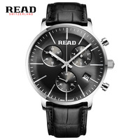 Watchwrist READ 2019 luxury brand second hand and 60 minutes sports quartz wrist watch men black strap reloj Calendar 7080 clock