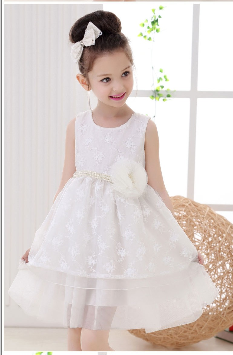 middle and small kids dress girl waist pearl flower princess dress