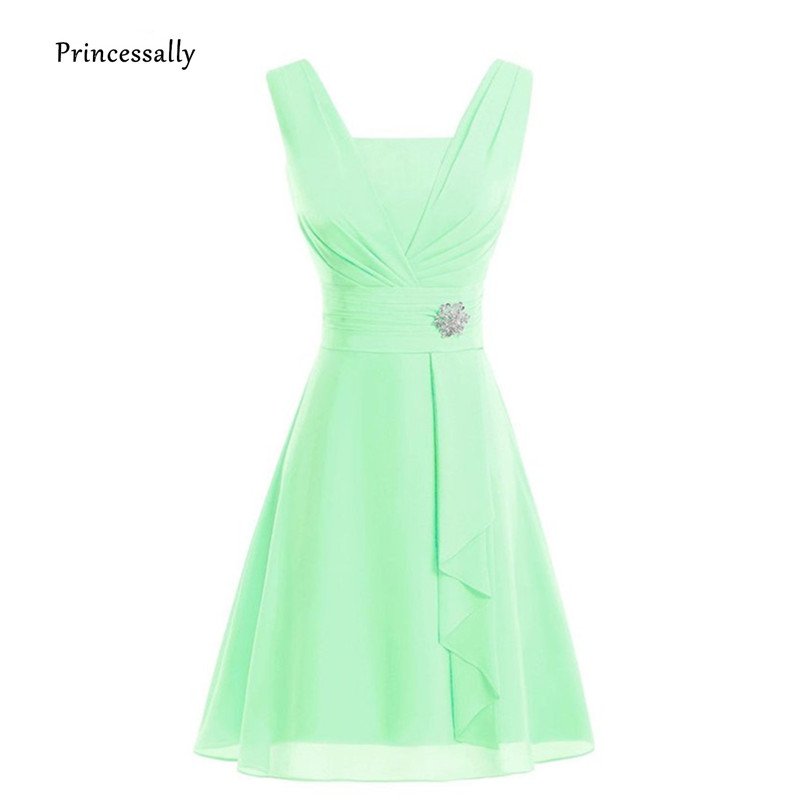 Vestido De Noiva New MInt Green Bridesmaid Dress Short Chiffon Pleat  Emerald Orange Yellow Wedding Party Gown Formal Dress Women 9b63f5e200f2