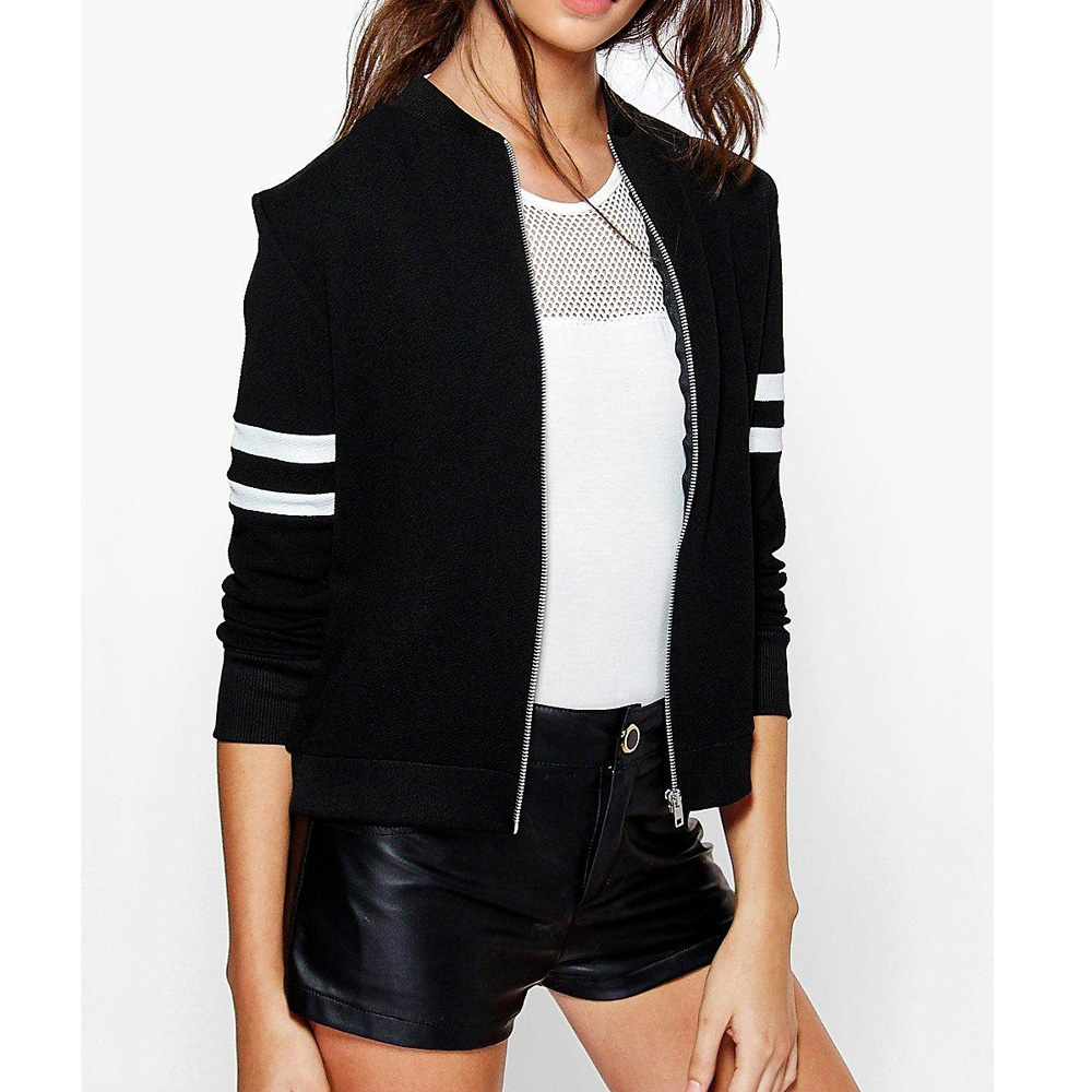 Sexy Black Cotton Striped Silver Zipper Bomber Jacket -4619