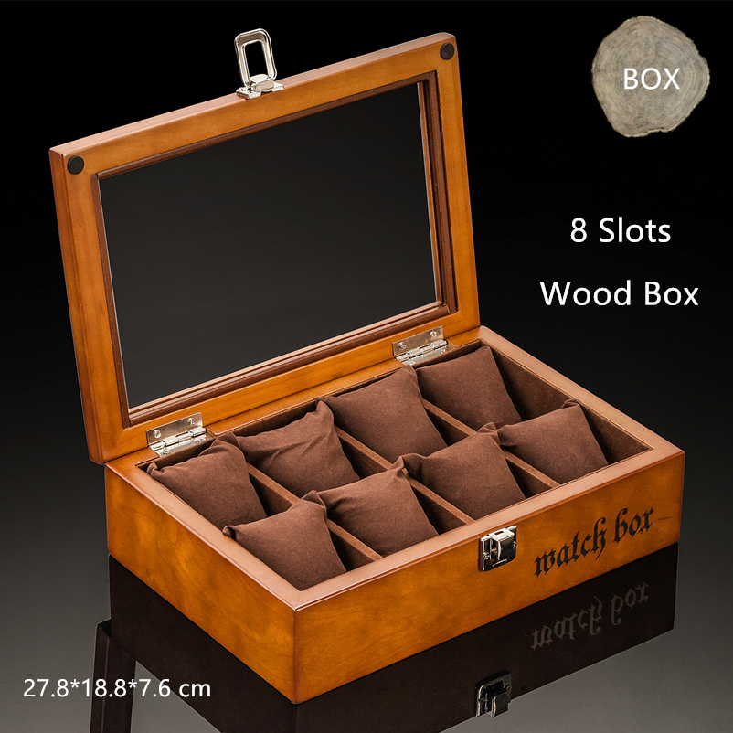 Top 8 Slots Wood Watch Box Fashion Black Watch Storage Cases With Lock Watch Display Gift Box C033 top 5 slots wood watch display box black wood watch storage box with lock fashion wooden watch gift jewelry box d023
