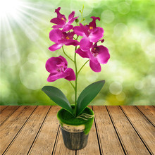 1pc 32cm Artificial Orchid Bonsai with Flower Pot Real Touch Silk Artificial Flowers for Wedding Christmas Home Decoration
