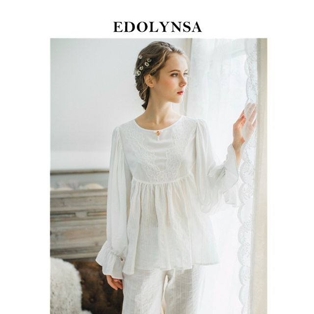 2019 Pyjamas For Women Solid Pajama Sets Cotton Women White Home Wear Sexy  Indoor Clothing Long Pants Lace Sleepwear  H376 d57e65347