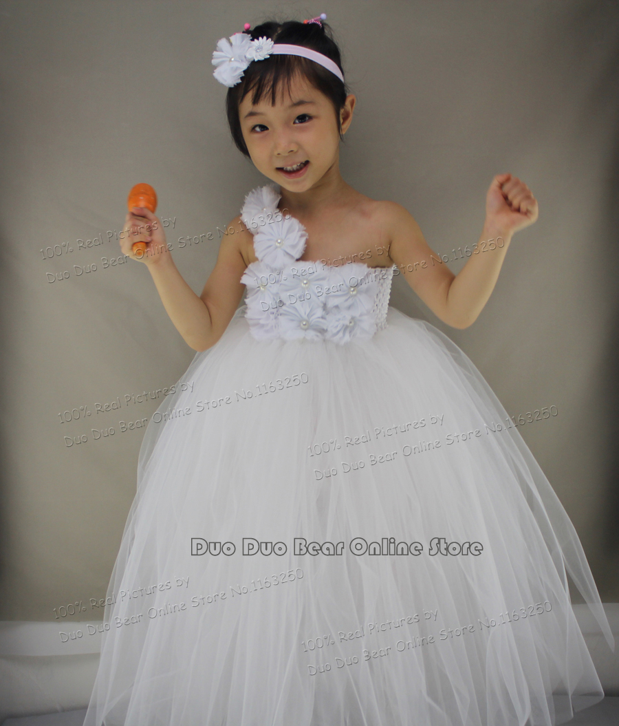 2016 party tutu baby girl white dress wedding tulle 12