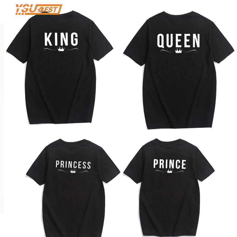 King Queen Prince Princess Crown Tee T Shirt Household Matching Outfits Cotton T-Shirt For Ladies Males Lady Boy Clothes Letter