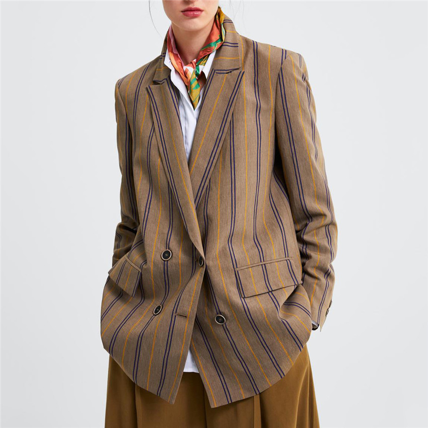 Anzüge & Sets Genial Klassische Gestreiften Zweireiher Frauen Jacke Blazer Kerb Kragen Weibliche Anzüge Mantel Mode Outwear 2019 Frühling