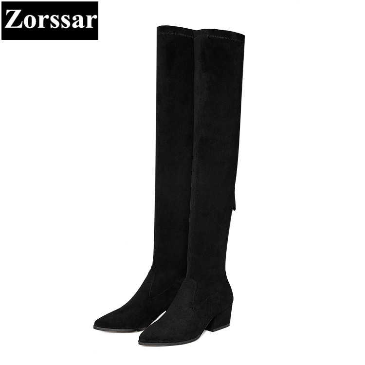 {Zorssar} 2018 New winter fur Women shoes pointed Toe Thick heel Knight boots Kid Suede High heels womens over-knee snow boots zorssar brands 2018 new arrival fashion women shoes thick heel zipper ankle chelsea boots square toe high heels womens boots