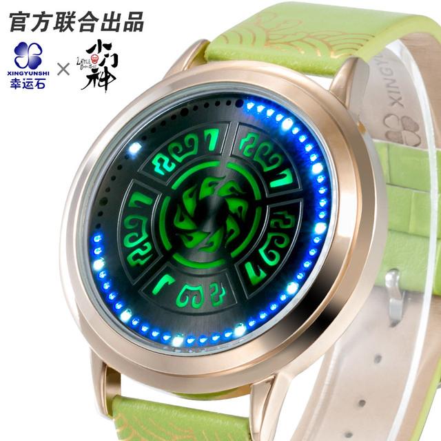 Pequeña puerta dios relojes LED intermitente sombra hombres y mujeres del reloj Digital de Pulsera dial Grande de Cuero Ocasional reloj Resistente Al Agua