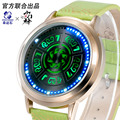 Small door god watches LED flashing shadow watch men and women Digital Wristwatches Large dial Casual Leather Waterproof watch