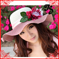 De moda del envío mujeres grande ancho Brim Floppy Summer Beach Sun sombrero de paja de la flor con la