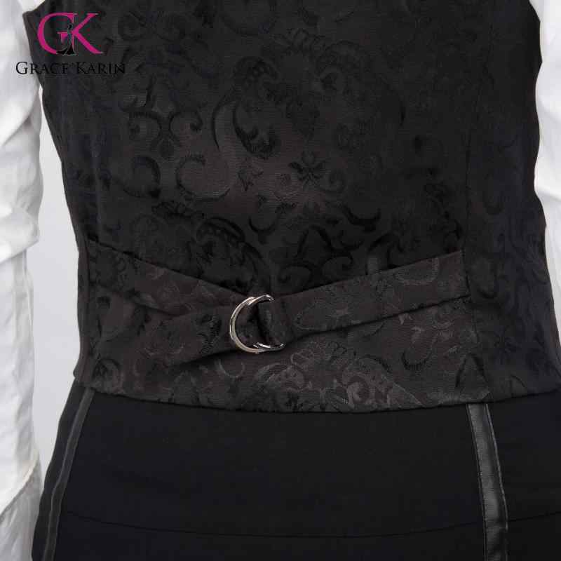 Grace karin colete feminino retro alça ajustável jacquard colete casaco 3 botões bolso senhora elegante coletes topos