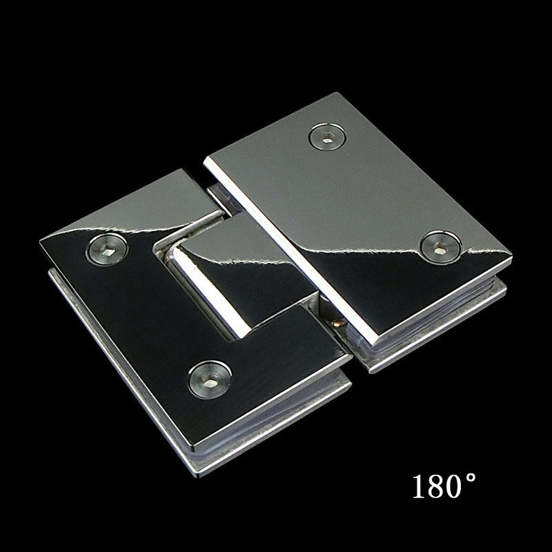 Stainless Double Clamp Shower Hinges 180 Degree GlassDoor Cabinet Kitchen TDO
