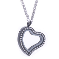 Women S Small Stainless Steel Heart Shape Crystal Photo Box Pendant Necklace Transparent Lockets Necklaces Fancy