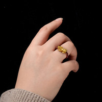 Gold Ring New Couple 3D Hard Gold Garnet Ring Crystal for Men and Women