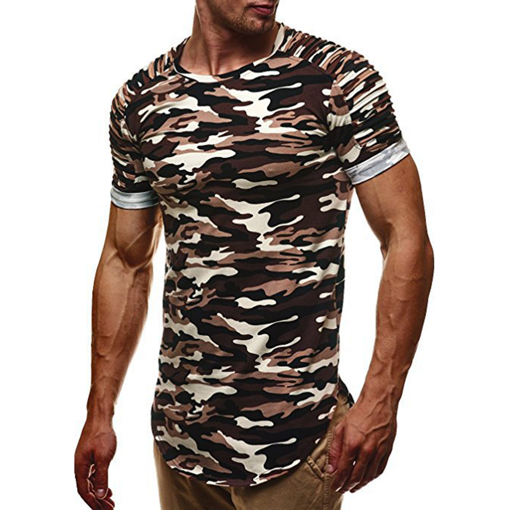 New Men T-shirt Summer Camouflage T-shirt Quick Dry T-shirt Tee Top Fitness Sports Athletic T-shirt