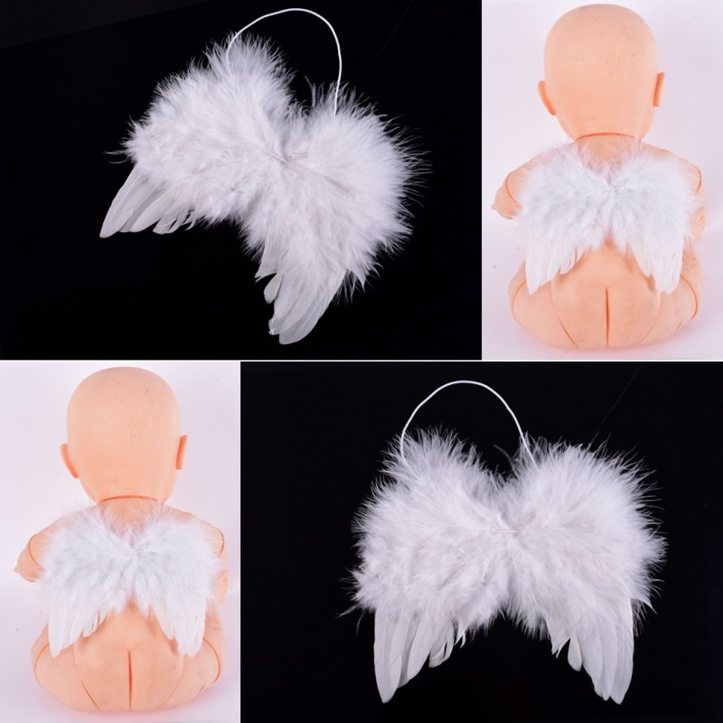 Portable Photo Prop Outfit Newborn Baby Infants Feather Angel Wings Decoration