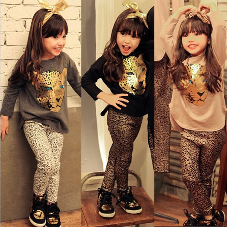 Girls Clothes Toddler Girls Clothing Sets Baby Girls Kids Clothes Children Clothing Full Sleeve T Shirt Leopard Legging Vestidos юрий каменский лоцман с аргуса от