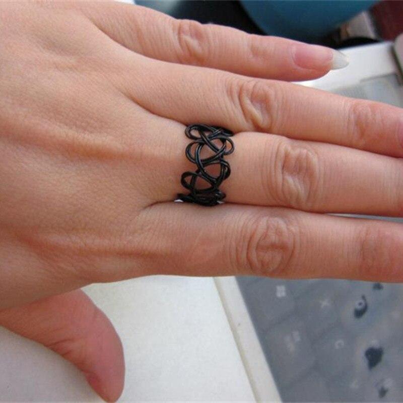 R290 Black Stretch Tattoo Finger Rings Handmade Fashion Jewelry Punk Retro Elastic Gothic Anel Anillos Bijoux 2018 HOT Selling