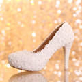 2016 3 cm/5 cm/10 cm/12 cm/14 cm Mulheres Moda Doce Flor Branca Plataforma rendas sapatos de Salto Alto Sapatos de Pérolas Sapatos de Casamento Vestido de Noiva QB
