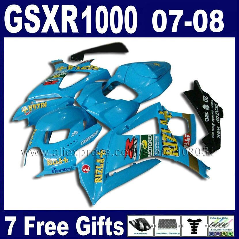 High quality motorcycle fairings set for SUZUKI 2007 2008 GSXR1000 parts GSXR 1000 GSXR K7 K8 07 08 1000 blue rizla fairing ki
