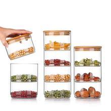 Multifunctional Storage Bottle Stackable Transparent Glass Kitchen Dried Fruit Snack Storage Bottle Food Bulk Sealed Container