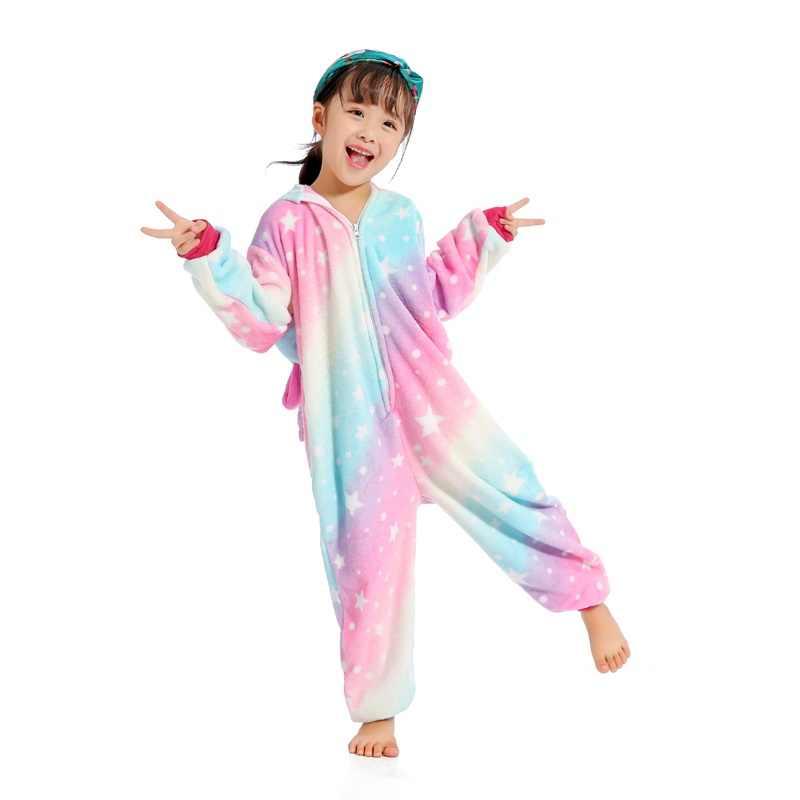 ... EOICIOI новое животное звездное небо Пегас костюм единорога фланель  дети мальчики девочки пижамы комбинезоны дети мультфильм ... d40059858ffb1