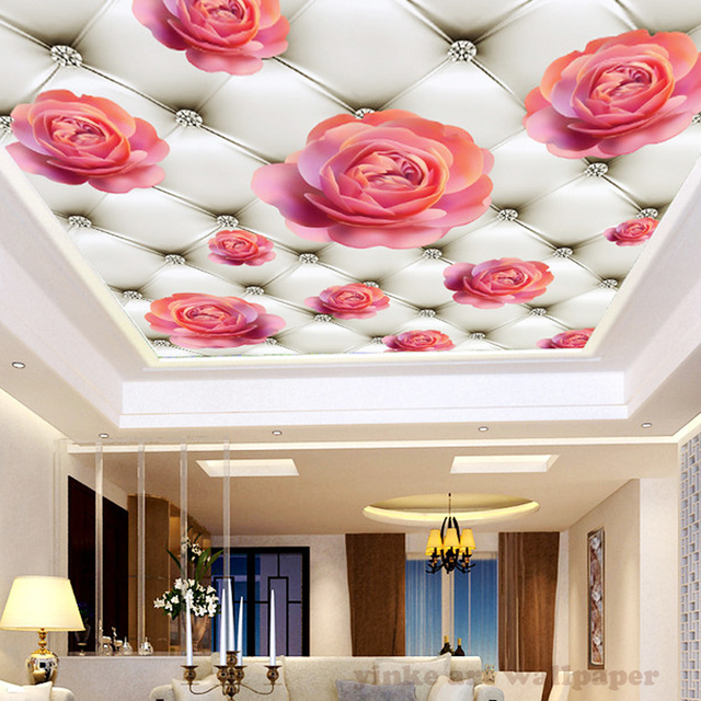 Nice Custom Ceiling Mural Wallpaper 3D 3d Diamond Pink Rose Living Room Bedroom  Ceiling Background Photo Wallpaper