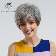 Блонд, единорог, пушистые, стриженые, короткие волосы, парики пепельный, серый, черный, Омбре, 30% человеческие волосы, парик с боковой челкой
