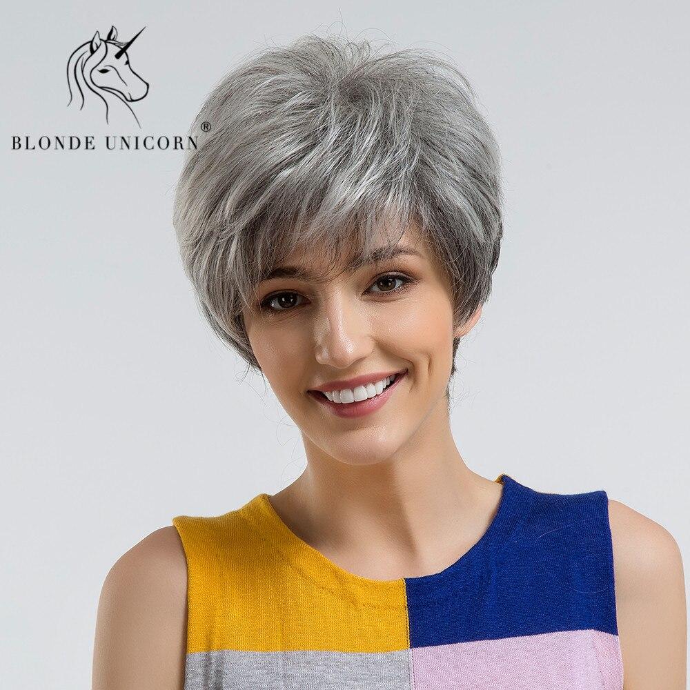 Blond jednorożec puszyste fryzura Pixie krótkie włosy peruki Ash szary czarny Ombre podkreśla 30% ludzki włos peruka z boku Bangs darmowa wysyłka