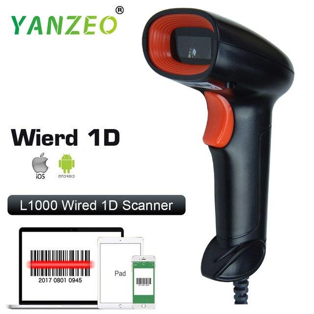 Yanzeo L1000 1D Máy Quét Mã Vạch Máy USB Có Dây Cầm Tay Ánh Sáng Laser Scanner Cho Siêu Thị Cửa Hàng IOS Android IPAD