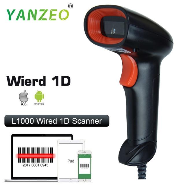 Yanzeo L1000 1D USB Wired Handheld Laser Barcode Scanner Portátil Scanner de Luz Para Supermercado Loja IOS Android IPAD