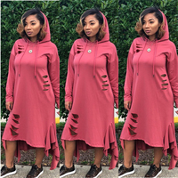 GuyuEra New African Dashiki Dresses for women European and American Fashion Women's Solid Color Burnt Hooded Fungus Hem Dress