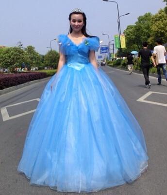 New Arrival Custom Made Blue Cinderella Dress Costumes For Women Fantasia Halloween Party Dress Adult Cinderella Dress