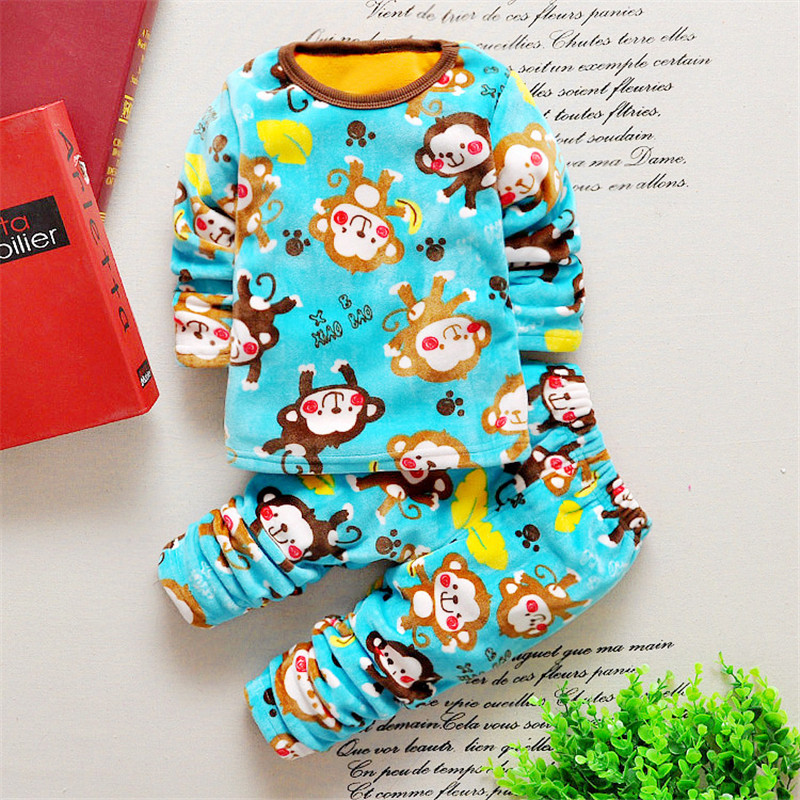 Fashion Baby Boys Clothes Cartoon monkey Newborn baby girl clothes set Winter bebes Costume long sleeved T-Shirt + Pants Outfit