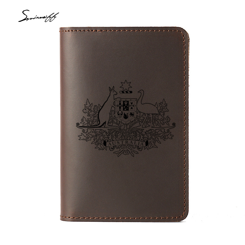 Герб Австралии Обложка для паспорта случае Пояса из натуральной кожи путешествия держатель для карт для паспорта пользовательское имя Тур...