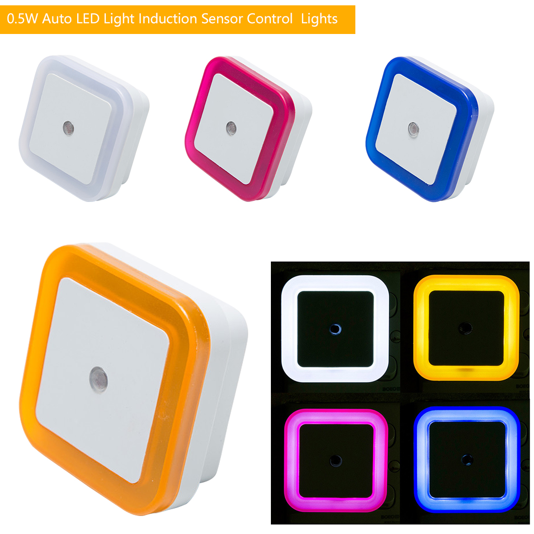 4 Colors LED Night Light Mini Light Sensor Control EU Plug Novelty Square Bedroom Lamp For Baby Gift Romantic Colorful Lights